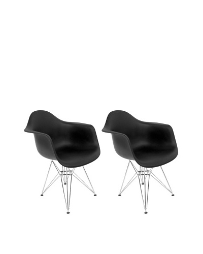 Euro Home Collection Set of 2 Dijon Arm Chairs, Black /Chrome