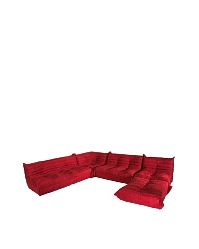 Euro Home Collection 5-Piece Microfiber Sofa Set, Red