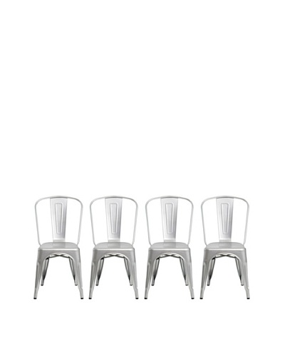 Euro Home Collection Set of 4 Garvin Galvanized Steel ChairsAs You See