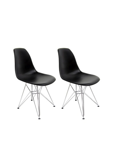 Euro Home Collection Set of 2 Paris Side Chairs, Black/Chrome