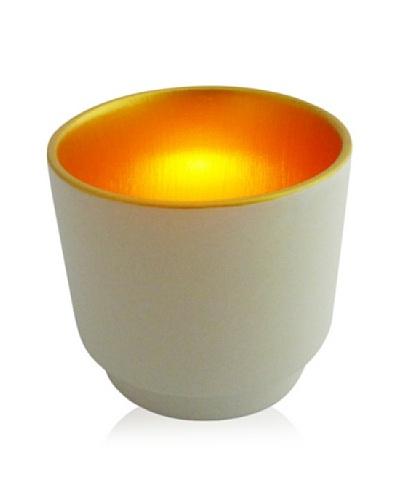 Luminata Studios Ceramic Votive Holder,Cream/Gold