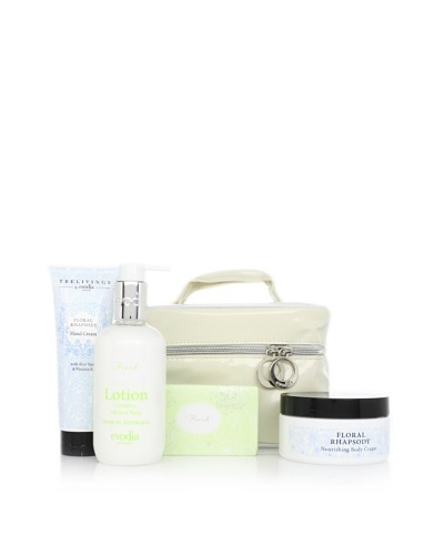 evodia Fresh and Floral 4-Piece Beauty Set with Tote