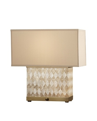 Feiss Nevena 20.5-Inch Table Lamp, Harlequin Pattern Natural Shell/ Dark Coffee Bronze with Biscuit ...
