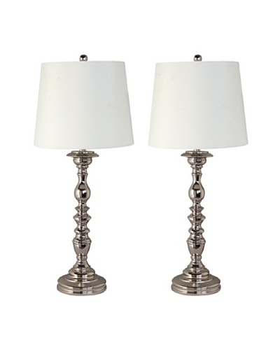 Feiss Set of 2 Polished Nickel Table Lamps