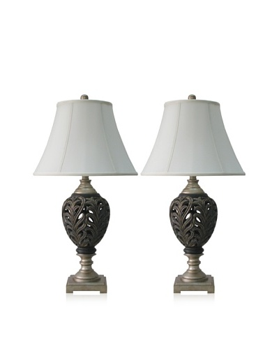 Murray Feiss Set of 2 Table Lamps, Dark Brown/Silver