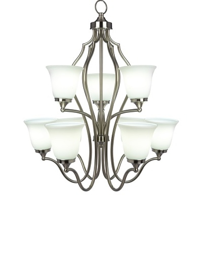 Feiss 9-Light Multi Tier Chandelier, Brushed Steel