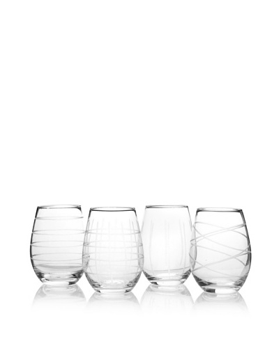 Fifth Avenue Set of 4 Crystal Medallion 17-Oz. Stemless Wine Goblets