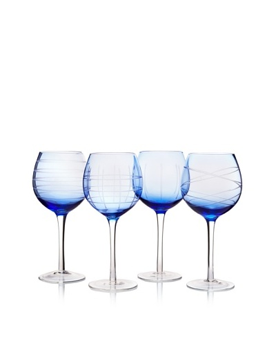 Fifth Avenue Set of 4 Medallion 13-Oz. Goblets, Blue