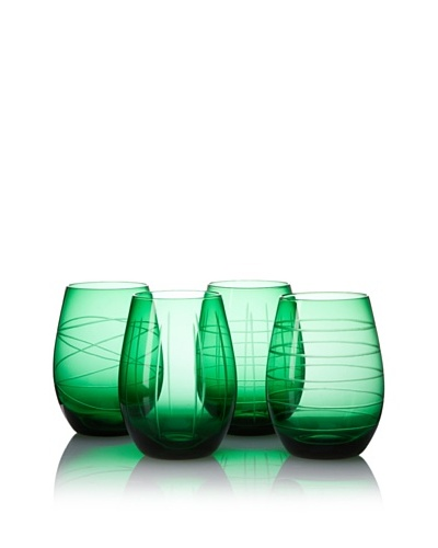 Fifth Avenue Set of 4 Medallion 17-Oz. Stemless Goblets, Green
