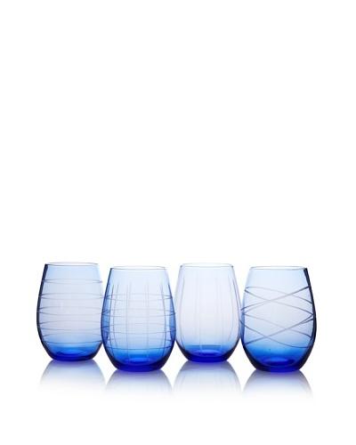 Fifth Avenue Set of 4 Medallion 17-Oz. Stemless Goblets, Blue