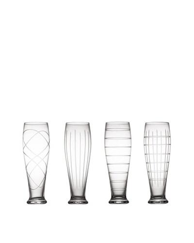 Fifth Avenue Set of 4 Crystal Medallion 20-Oz. Pilsner Glasses