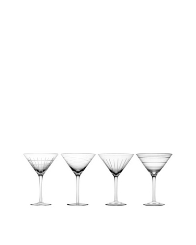 Fifth Avenue Crystal Set of 4 Medallion Martini Glasses, 16-Oz.