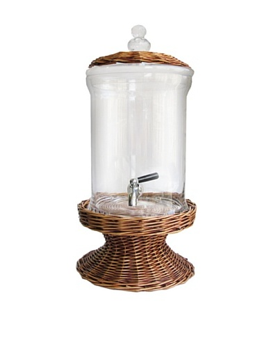 Crystal Glass Beverage Dispenser with Willow Base and Lid, Brown