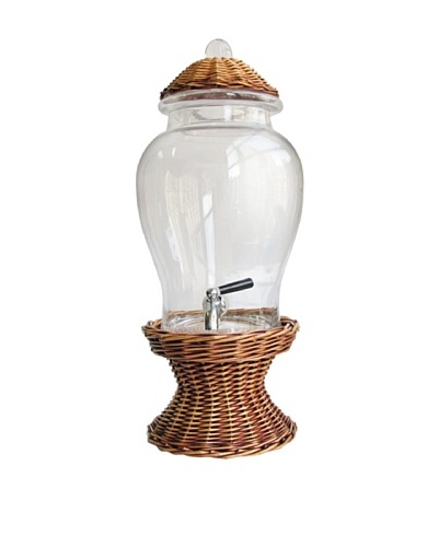 Crystal Glass Beverage Dispenser with Willow Base and Lid