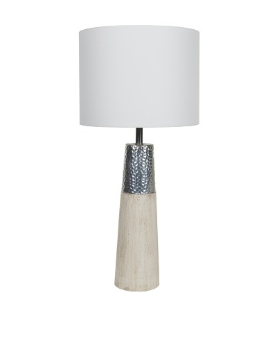 Filament Wood/Metal Table Lamp, White/Silver/Beige