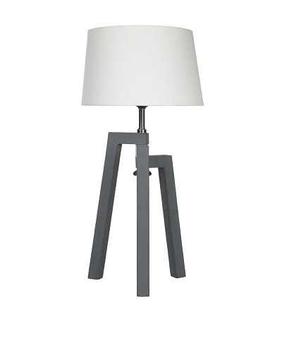 Filament Wood/Metal Base Table Lamp, Grey
