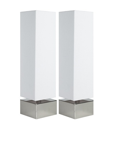 Filament Set of 2 Square Table Lamps, White