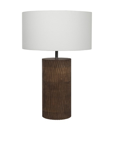 Filament Carved Wooden Base Table Lamp, Brown/White