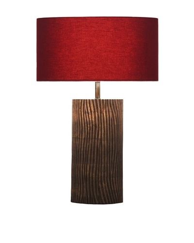 Filament Carved Wooden Base Table Lamp, Brown/Red