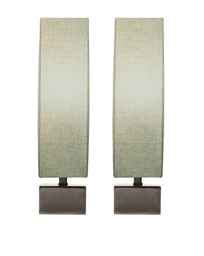 Filament Set of 2 Square Table Lamps, Celadon/White