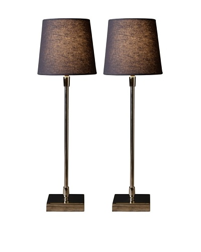 Filament Set of 2 Slim Square Base Table Lamps, Grey/White