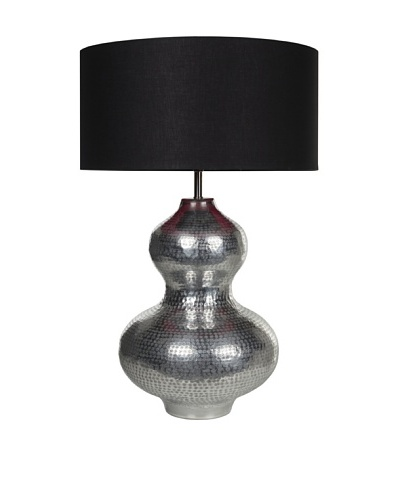 Filament Curved Metal Table Lamp with Contrast Shade, Silver/Black/Fuchsia