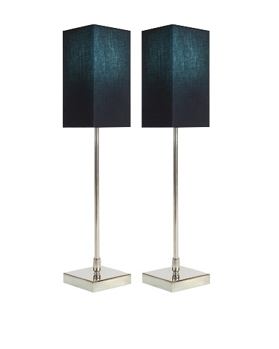 Filament Set of 2 Slim Square Table Lamps with Contrast Shade, Black/Turquoise