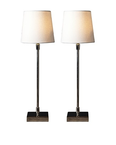 Filament Set of 2 Slim Square Table Lamps, White
