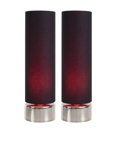 Filament Set of 2 Round Contrast Shade Table Lamps, Black/Fuchsia