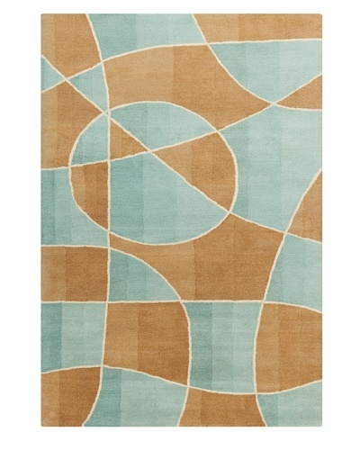 Filament Sherill Rug, Teal/Light Brown, 5' x 7' 6'