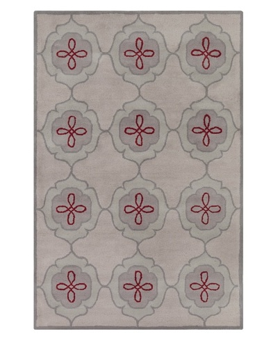 Filament Adelia Hand-Tufted Wool Rug, Grey/Red, 5' x 7' 6