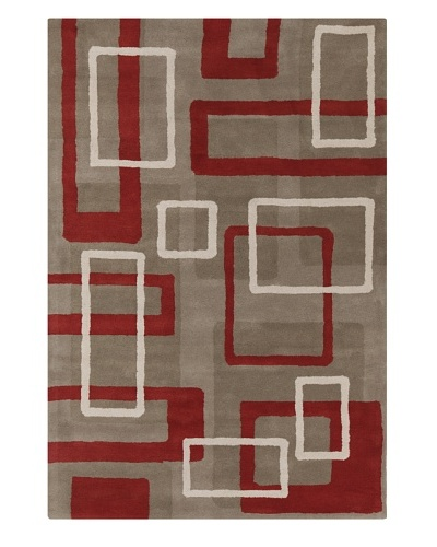 Filament Karly Hand-Tufted Wool Rug, Taupe/Red, 5' x 7' 6