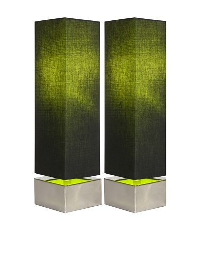 Filament Set of 2 Square Contrast Shade Table Lamps, Black/Green
