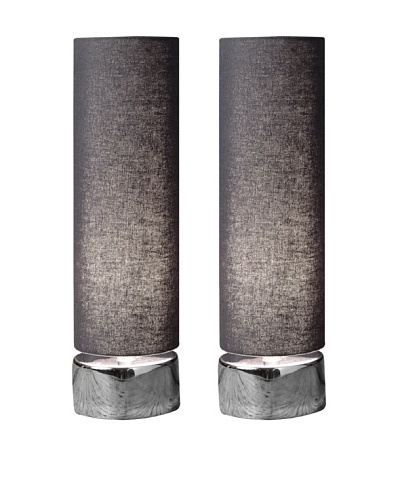 Filament Set of 2 Round Table Lamps, Grey/White