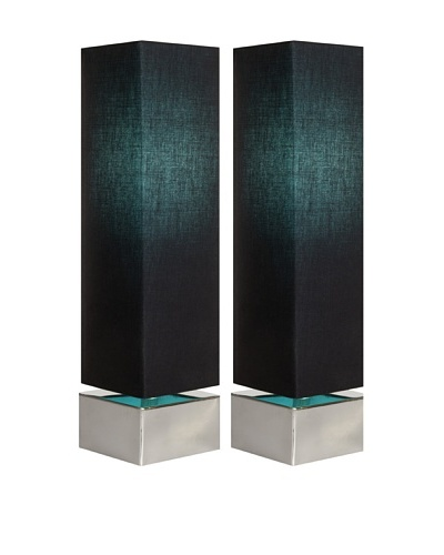 Filament Set of 2 Square Contrast Shade Table Lamps, Black/Turquoise