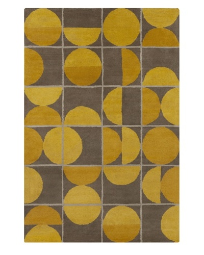 Filament Linh Hand-Tufted Wool Rug, Taupe/Gold, 5' x 7' 6