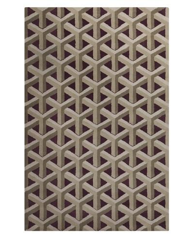 Filament Tonda Hand-Tufted Wool Rug, Burgundy/Light Brown, 5' x 7' 6