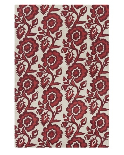 Filament Freeda Rug, White/Burgundy, 5' x 7' 6