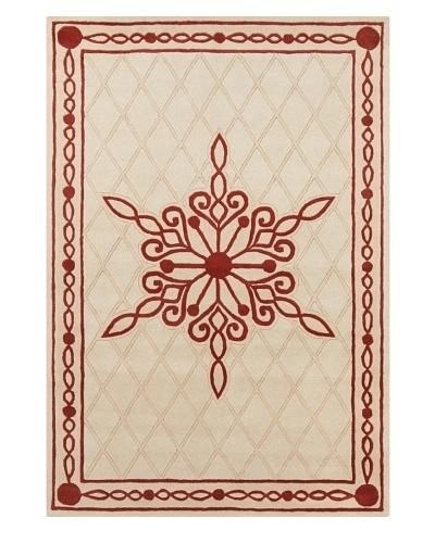 "Filament Warren Hand-Tufted Rug, Cream/Red, 5' x 7' 6"""