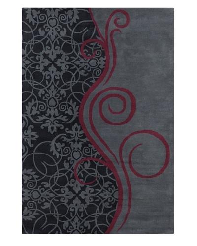 Filament Kelley Hand-Tufted Rug, Charcoal/Burgundy, 5' x 7' 6