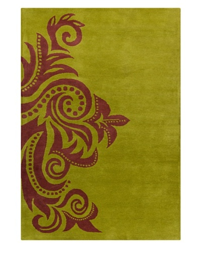 "Filament Bella Hand-Tufted Rug, Burgundy/Green, 5' x 7' 6"""