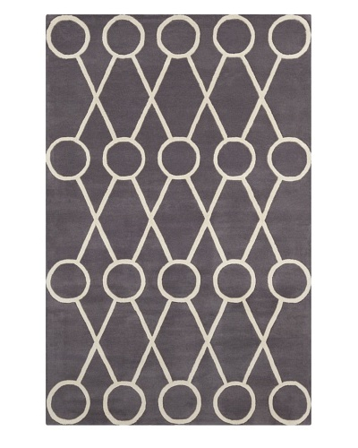 Filament Santo Hand-Tufted Wool Rug, Grey/Cream, 5' x 7' 6