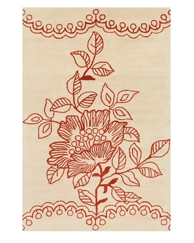 """Filament Richelle Hand-Tufted Wool Rug, Cream/Orange, 5' x 7' 6"""""""