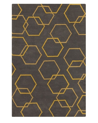 Filament Jettie Hand-Tufted Wool Rug, Grey/Gold, 5' x 7' 6""