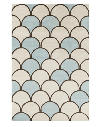 Filament Jacqueline Hand-Tufted Wool Rug, Blue/Cream, 5' x 7' 6