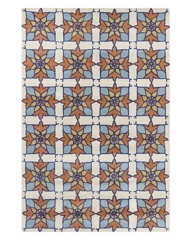 Filament Joyce Hand-Tufted Wool Rug, Blue/Orange, 5' x 7' 6
