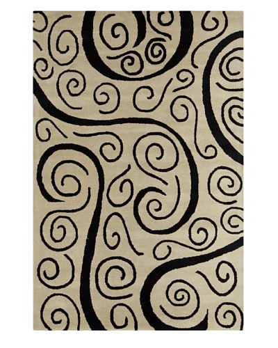 Filament Tristan Hand-Tufted Rug, Black/Off White, 5' x 7' 6