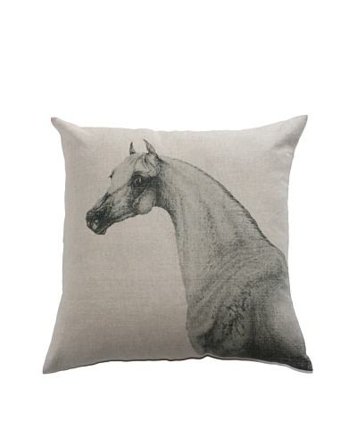 Filling Spaces Horse Profile Print Pillow, Beige