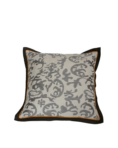 Filling Spaces Embroidered Abstract Ikat Pillow, Grey