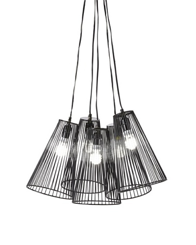 Filling Spaces 5-Bunch Wire Pendant, Black